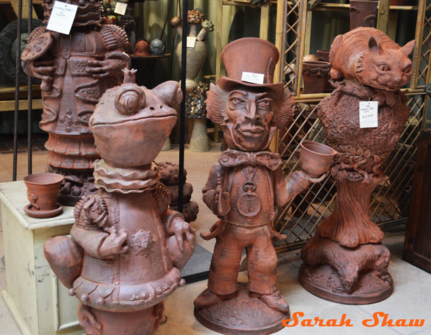 Whimsical Garden Statues From Goff Creek Pottery At The Antique And Fair Chicago