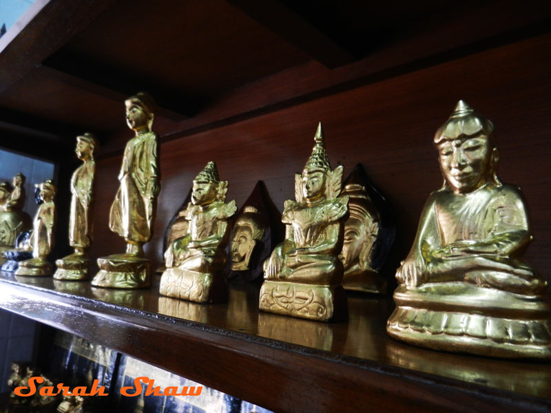 Gilded figures for sale at King Galon in Mandalay, Myanmar