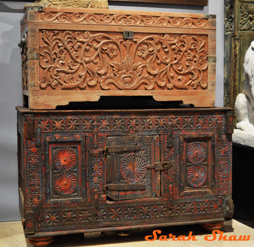 Indian trunks offered at the Chicago Botanic Garden's Antique and Garden Fair