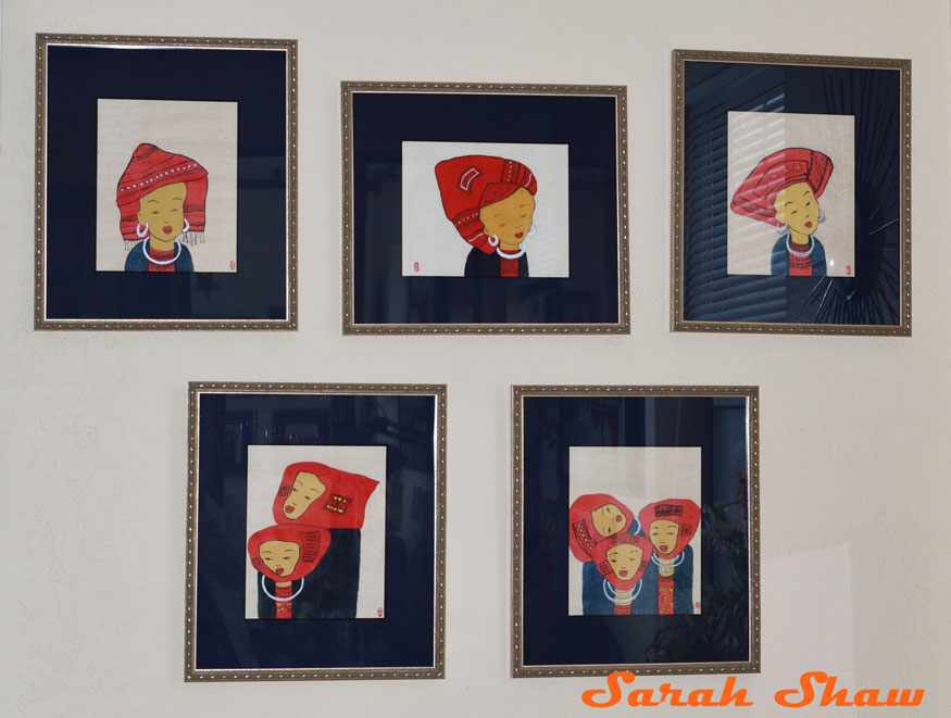 Cusom framed paintings of Red Dao women from Vietnam