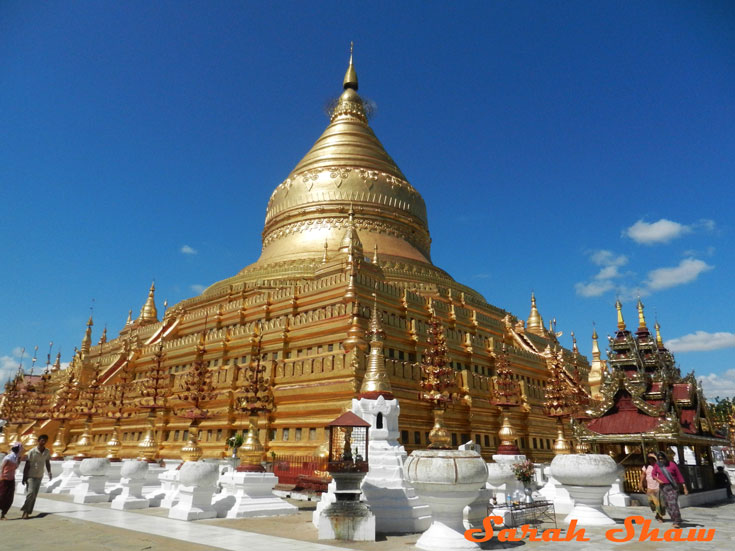 Shwezigon Pagoda near Bagan, Myanmar is covered in gold leaf