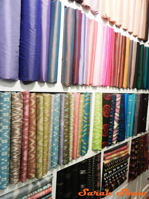 Fabrics for custome garments at Indigo House, Bangkok, Thailand