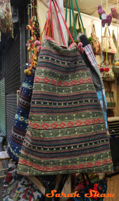 Hill tribe bag on display in Bangkok's Chatuchak Weekend Market