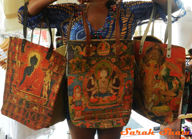 Colorful totes from India offered by Bagus in Tamarindo, Costa Rica
