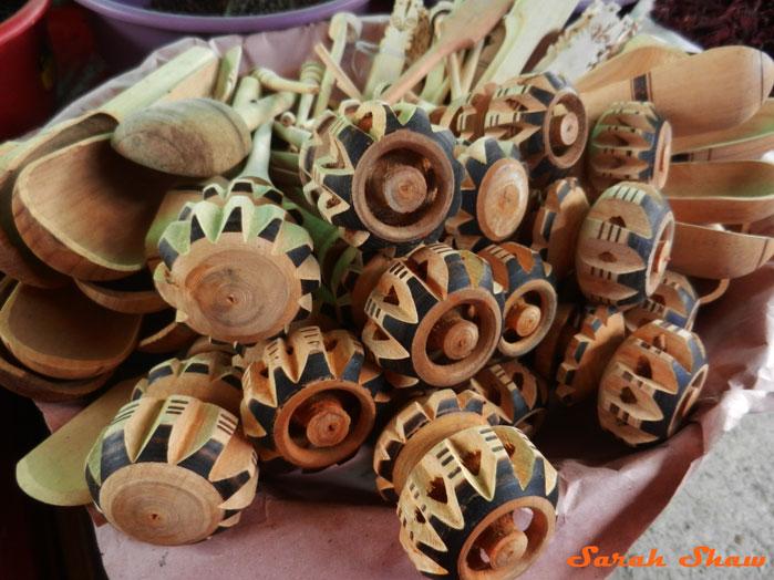Molinillo for sale in the Morelos Market in Oaxaca, Mexico