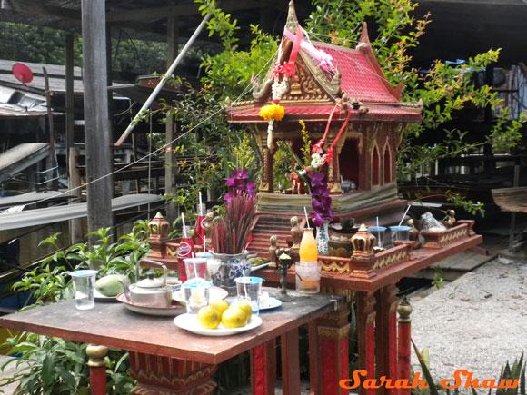 Spirit House at the Floating Market near Bangkok, Thailand