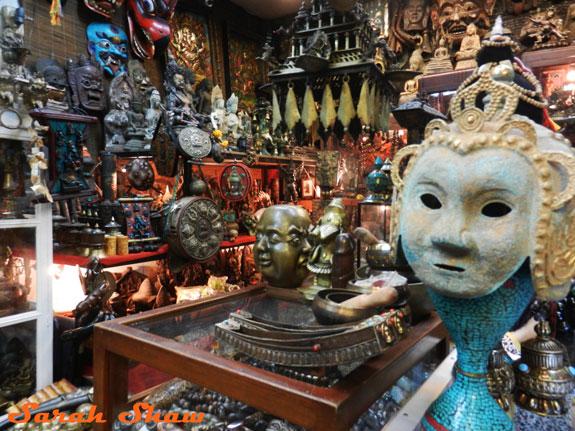 Tibetan artifacts in a booth at Bangkok's Chatuchak Weekend Market