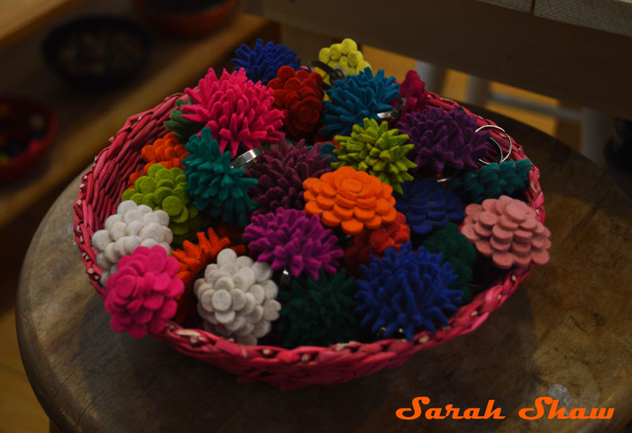 Felt flowers in rings and brooches at Lady Mosquito