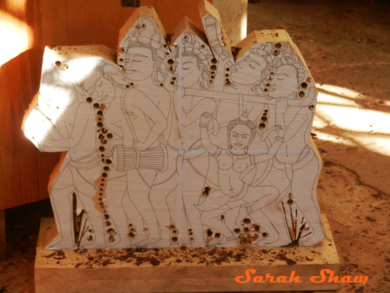 Rouch cut of an Apsara Scultpure at Artisans Angkor