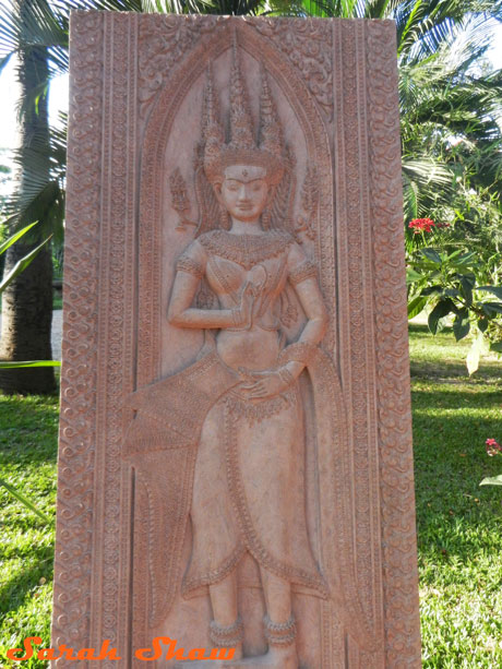 Wood carving of an apsara from Artisans Angkor
