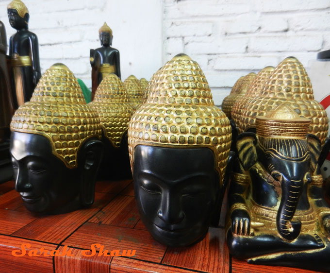 Head of the Buddha and Ganesh in a studio at Artisans Angkor