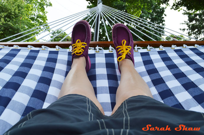 ECCO Mind shoes rest in a hammock