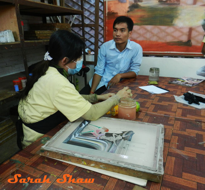 Silk painting at Artisans Angkor in Siem Reap