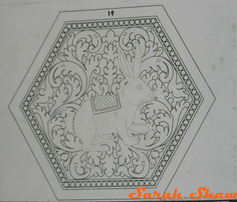 Rabbit pattern for an embossed box at Artisans Angkor
