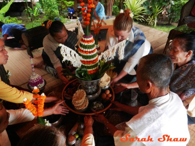 During a baci ceremony at Ock Pop Tok in Luang Prabang, Laos