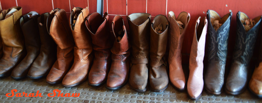 A row of cowboy boots offered at Courage My Love in Toronoto