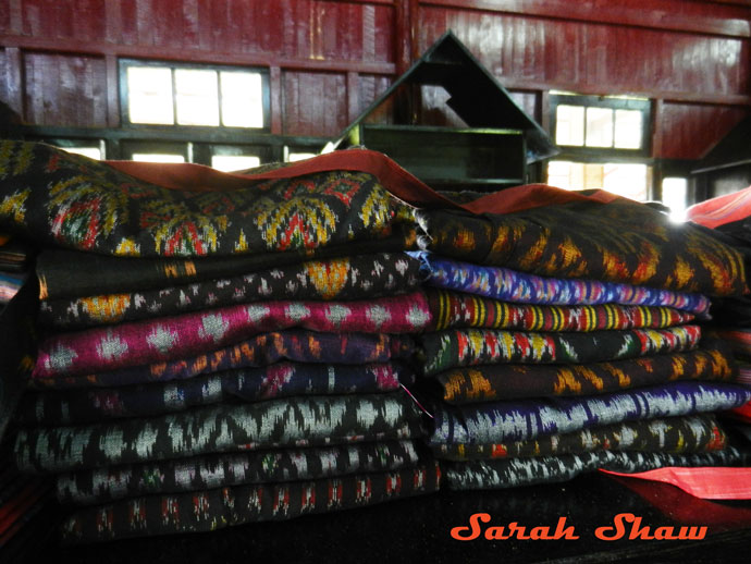 Stacks of ikat for sale at Khit Sunn Yin in Lake Inle, Myanmar