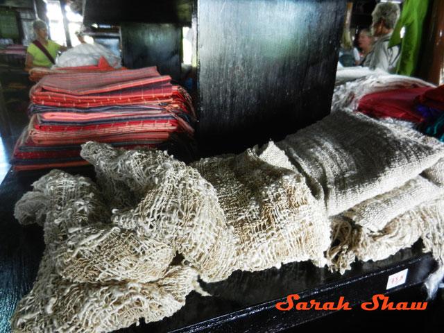 Lotus fiber scarves for sale at Khit Sunn Yin