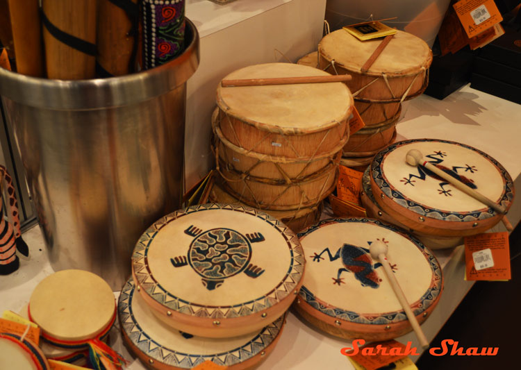 A selection of Native American drums at the ROM Museum Store
