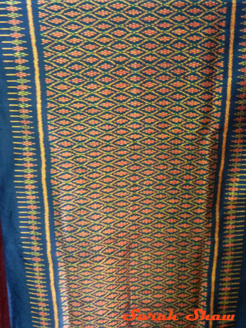 Traditional pattern on a silk scarf in Inle Lake, Myanmar