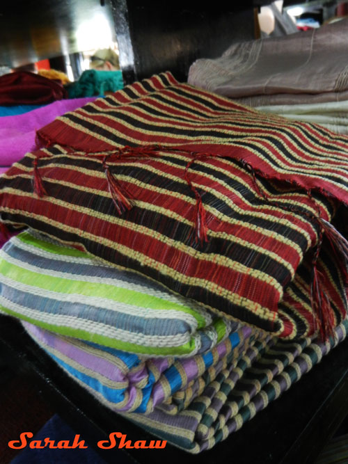 Scarves of all colors and stripes are available at Khit Sunn Yin