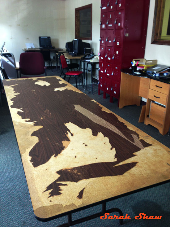 Distressed folding table