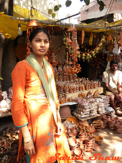 Vendor at a Diwali Market in New Delhi, India