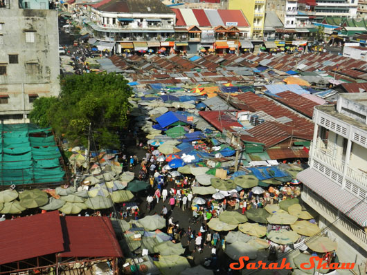 Overview of a market in Phnom Penh, Cambodia