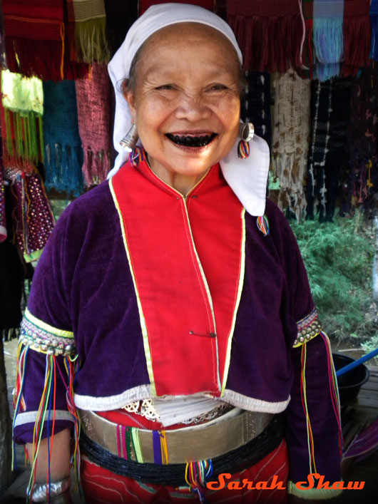 Palong woman blackened teeth Chiang Rai Thailand