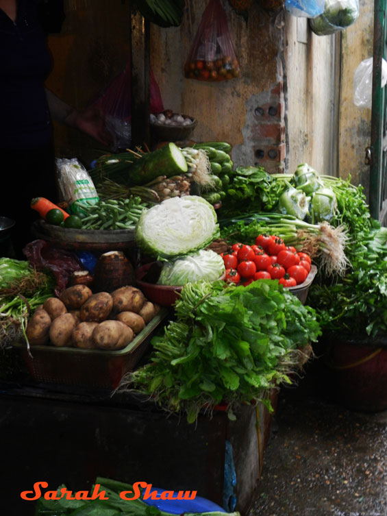 Artfully displayed produce at a market in Hanoi, Vietnam