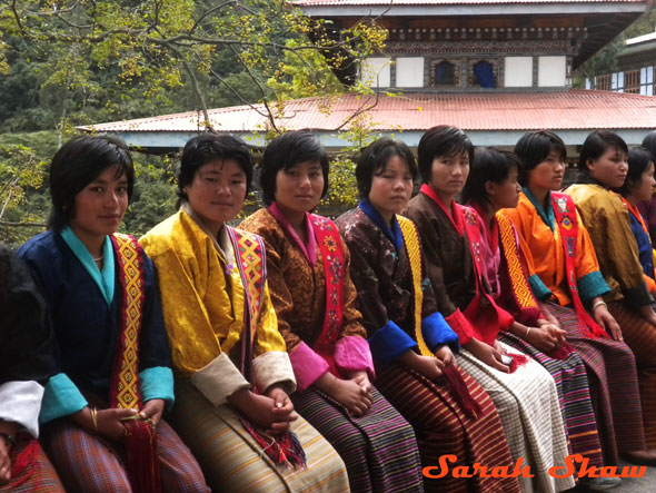 Women in the national dress in Trashigang
