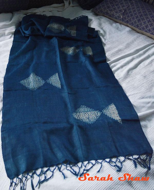 Indigo shibori silk scarf