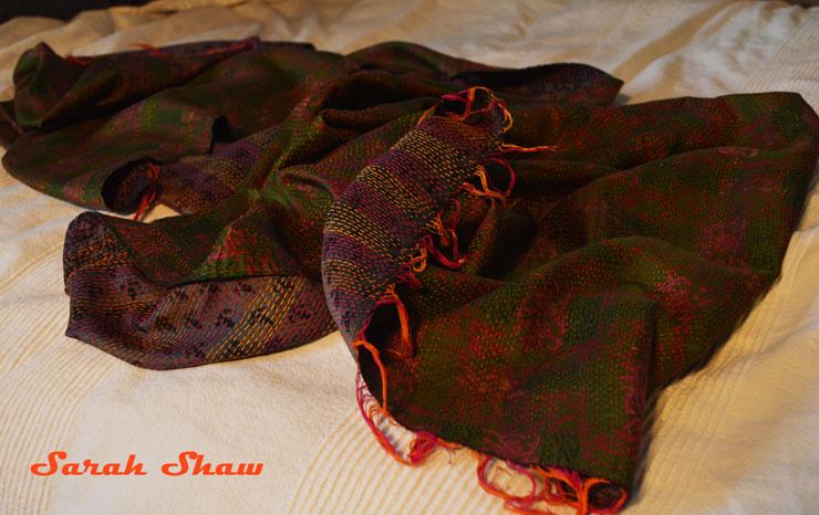 Kantha silk scarf