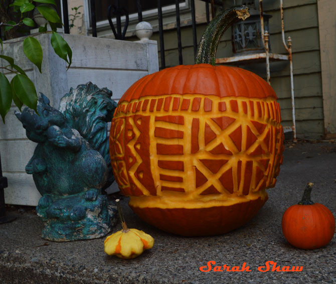 Mudcloth carved pumpkin
