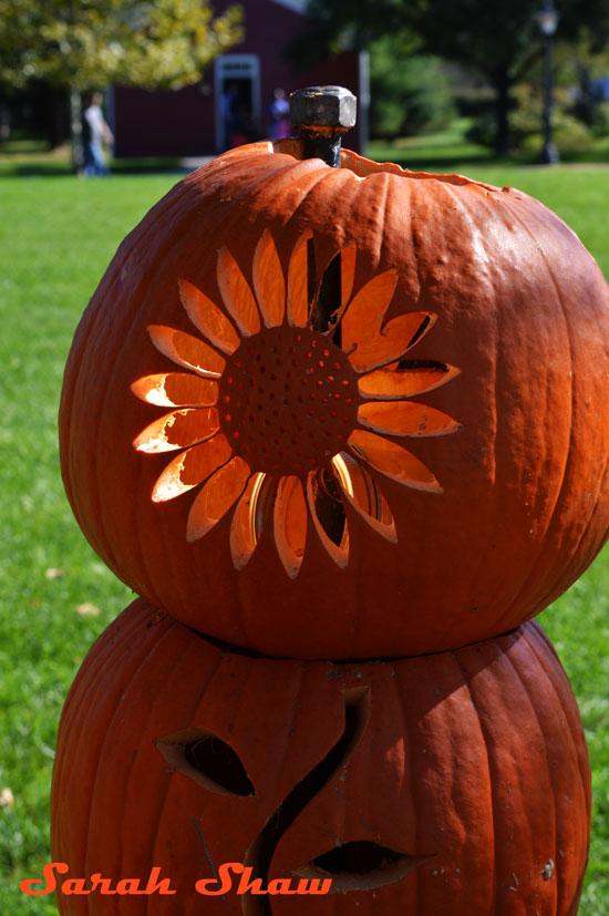 Sunflower carved pumpkin tower