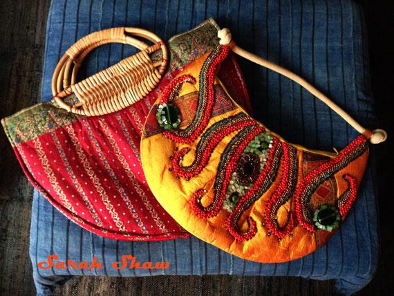 Beaded silk purses