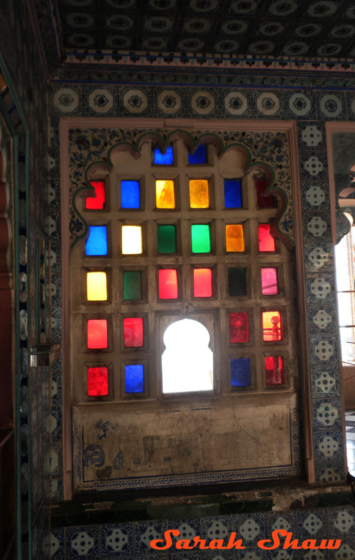 Panes of colored glass in the City Palace