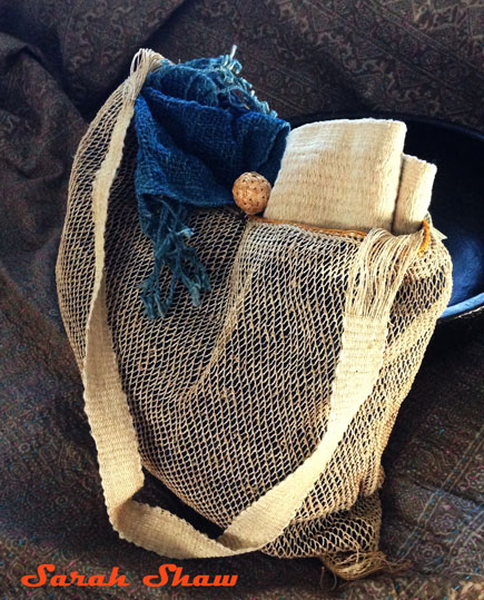 Hand knitted bag from grass
