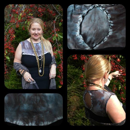 Shibori Black Dress with Keyhole Back