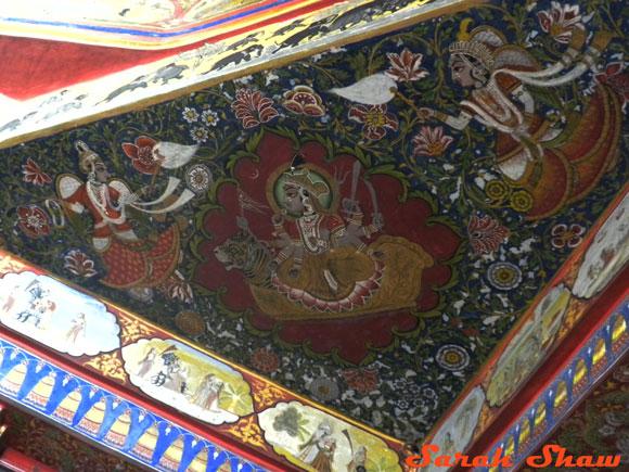 Elaborate corner of ceiling mural