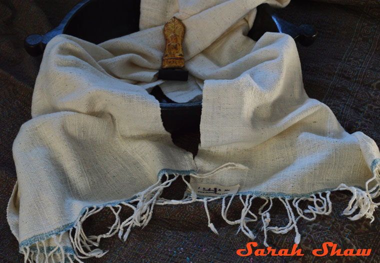 Natural and indigo colored scarf