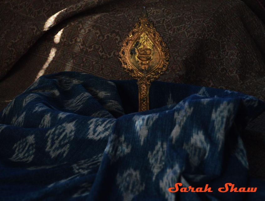 Lotus Ikat Tea Towel in Indigo