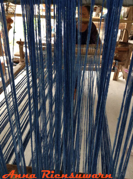 Warp stretched on a loom in Thailand