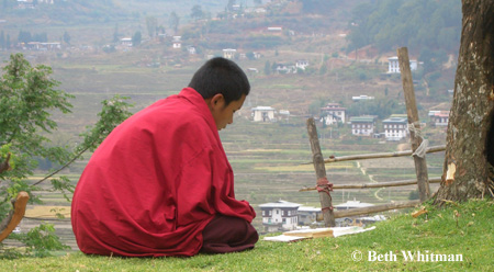 Monk in Prayer near Punakha