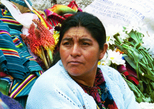 Woman in flower market