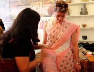 Wearing a sari in India