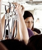 Woman in Crowded India bus