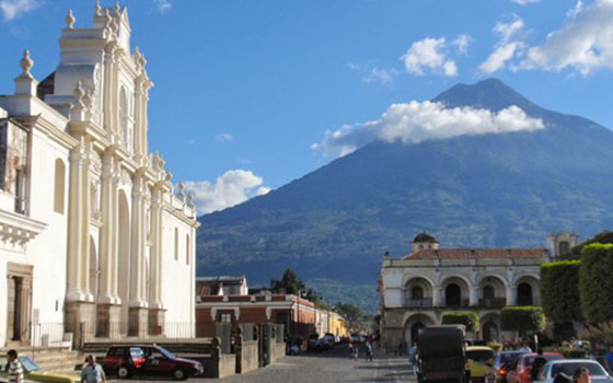 Catedral de Santiago with Volcan Agua in the Background