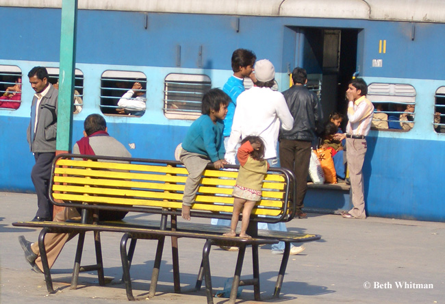 Kids at Indian Railway Station