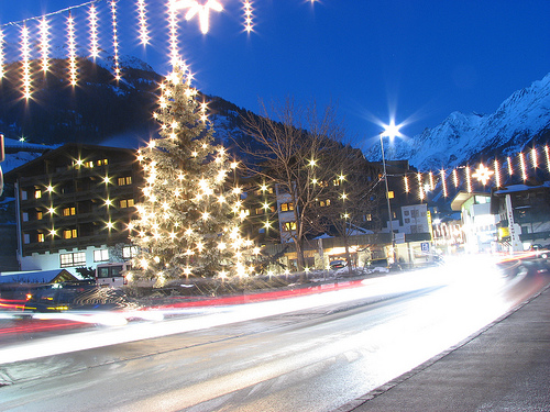 Christmas lights in Solden Austria